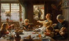 'One of the Family', Frederick Cotman, 1880. A farmer returns home for his meal as a horse leans through the doorway to be fed by his wife. http://www.liverpoolmuseums.org.uk/walker/collections/19c/cotman.aspx