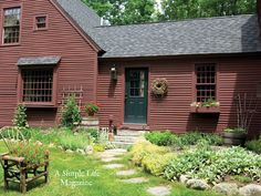 primitive home crossword clue Red Houses, Saltbox Houses, Colonial House Exteriors, Colonial Exterior, Colonial Architecture, Gloucester House, Primitive Country Homes, Country Houses, Country Life