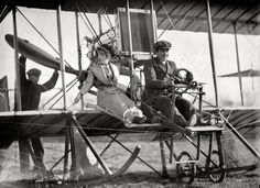 "Come Fly With Me: (c.1911)  Washington, D.C., or vicinity circa 1911. ""Senorita Lenore Riviero with Antony Jannus in Rex Smith aeroplane."" Please fasten your seatbelts (or skirts) while we prepare for departure. Tony Jannus, the pioneering but short-lived Washington aviator, a few years before his final flight landed him somewhere at the bottom of the Black Sea."