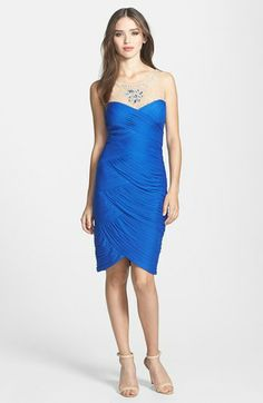 Adrianna Papell Embellished Tiered Stretch Tulle Sheath Dress available at #Nordstrom