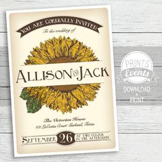 Vintage Sunflower Wedding Invitation Suite - Seed Packet - Printable - Post Card RSVP - Yellow on Etsy, $30.00