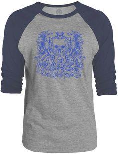 Big Texas Sk8 or Die (Blue) 3/4-Sleeve Raglan Baseball T-Shirt