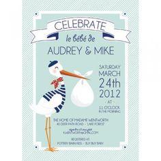 French Stork Baby Shower Invitation   www.whhostess.com
