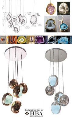 ELEMENT K Pendant Lighting designed for SICIS // HBA furniture collaboration. Copyright HBA/Hirsch Bedner Associates.