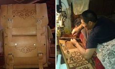 Rahatbek Usenkozhoev fell from his horse while pasture the cattle and became a physically challenged person, his wife has left him alone with 3 children and in order to feed his children and aged mother he began to craft authentic leather Kyrgyz bags...