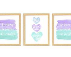 Teen girls room | Etsy Coral Nursery, Baby Nursery Art, Nursery Artwork, Vintage Nursery, Blue Wall Decor, Green Wall Art, Watercolor Heart, Watercolor Paintings, Boy Girl Room