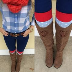 Monogrammed Cognac Knee Boot by @Marley Medema Lilly