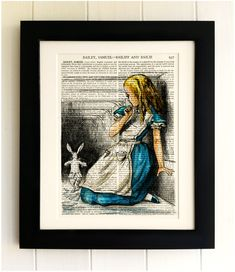 ART PRINT on old antique book page - Alice in Wonderland, White Rabbit, Vintage Upcycled Wall Art Print, Encyclopaedia Dictionary Page, Gift by thebluebutterflyemp on Etsy