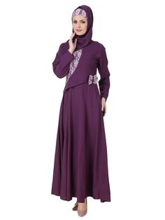 MyBatua Sireen Rayon Purple Abaya | Available in sizes XS to 7XL, lenth 50 to 66 inches.  Buy link : https://www.mybatua.com/catalogsearch/result/?q=sireen+rayon+purple+abaya