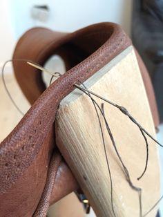 Work in progress on bespoke gun cartridge bag | JADERhone leathergoods