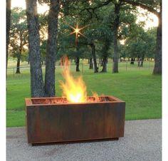 Rectangular Cor-Ten Steel Fire Pit - Wood Burning
