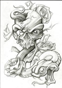 Snake and Skull by stephcand Evil Skull Tattoo, Skull Tattoo Design, Snake Tattoo, Skull Tattoos, Body Art Tattoos, Sleeve Tattoos, Tattoo Designs, Tatoos, Graffiti Tattoo