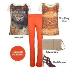 Essa é a nossa sugestão de look para o final de semana!   O laranja veio com tudo para o Verão 2015 e ele fica lindo com as nossas blusas estampadas. São muitas novidades!!!!!   Tudo já nas lojas e agora também na loja online. Venham!!!   http://loja.fillity.com.br  #fillity #fillityverao2015 #verao2015fillity #ss2015 #lookdodia #ootd #lookfds