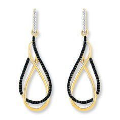 Loops of yellow gold and black diamonds are the focal point of these fashionable dangle earrings.