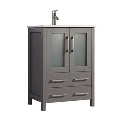 """td {border: 1px solid #ccc;}br {mso-data-placement:same-cell;} td {border: 1px solid #ccc;}br {mso-data-placement:same-cell;} 24"""" Light Gray Single Integrated White Ceramic Sink VANITY WITH Mirror - Bathroom Vanity WITH TWO DOORS AND TWO DRAWERS - Vanity Base With Emperador Light Marble Top Modern living is all about making the most of the space that your home offers. Investing in premium-quality furniture is the best way to cut down the cost of repairs, over time. This Bathroom Vanity Ideal for 24 Vanity, Single Sink Bathroom Vanity, Vanity Sink, Bath Vanities, Mirror Bathroom, Bathroom Ideas, Light Gray Cabinets, Wood Sink, Bath Girls"""