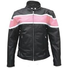 Allstate Womens Pink and White Stripe Motorcycle Scooter Jacket is made of genuine buffalo leather and comes in a solid black color with accenting pink and white horizontal stripes having two front zipper pockets, two inside pockets, and a scooter euro collar for the most stylish look.