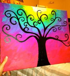43 New Ideas For Tattoo Tree Abstract Oil Paintings Canvas Drawings, Painting, Rainbow Painting, Oil Painting, Whimsical Art, Oil Painting Abstract, Mini Canvas Art, Canvas Painting Diy, Cute Canvas Paintings