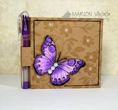 Purple butterfly on kraft...luv all the techniques for coloring on kraft: white gel dots; tone on tone stamping of background; bright butterfly done with prismacolor and gamsol...