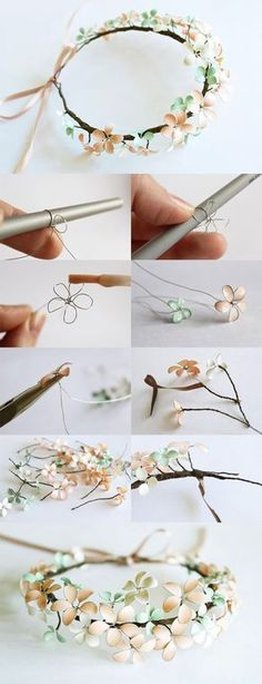 DIY : Nail Polish & Wire Flowered Headpiece (covering the wire w/ mod podge makes it easier to apply the polish)