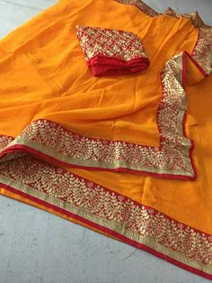 Traditional Indian Rajasthani yellow color saree georgette with gota patti work saree dupian gota patti work blouse frint nd back work
