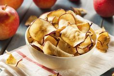 If you have a food dehydrator, you can make your own apple chips. These are cheaper and healthier than the fried apple chips in the store. You can use any type of apple you like,. Food Swap, A Food, Food And Drink, Dog Treat Recipes, Fruit Recipes, Healthy Recipes, Healthy Foods, Healthy Chips, Healthy Work Snacks