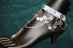Turquoise & silver anklet by CrashmanCreations on Etsy