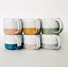 love the various colors and the speckled clay in this set of handmade mugs! Pottery Mugs, Ceramic Pottery, Pottery Ideas, Thrown Pottery, Slab Pottery, Pottery Designs, Pottery Bowls, Ceramic Mugs, Ceramic Art