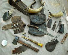 Bag by Curt Lyles. Large Horn and Bullet Mold, antiques. Turkey Call and Worm by Jim Webb. Tin from Charlie Norville. All other items . Mountain Man Rendezvous, Shooting Bags, Black Powder Guns, Powder Horn, Longhunter, Bushcraft Gear, Primitive Survival, Fur Trade, American Frontier