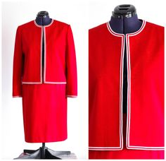 80s does 60s red skirt suit by TimeTravelFashions on Etsy