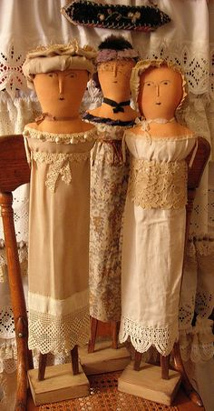 Three dolls inspired by 1812 French Wooden dolls by therusticvictorian, via Flickr