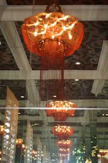A Ceiling mounted Red Flower of Life in a 'hall of mirrors'. Interior Lighting, Interior Styling, Lighting Design, Interior Decorating, Hall Of Mirrors, Residential Lighting, Light Project, Custom Lighting, Flower Of Life