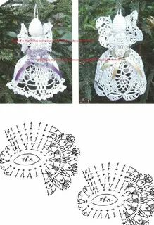 Christmas Charts, Crochet Christmas Ornaments, Christmas Bells, Christmas Angels, Simple Christmas, Christmas Tree Decorations, Crochet Angels, Crochet Art, Crochet Coaster Pattern