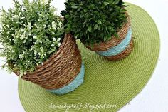 how to upcycle cheap flower pots, container gardening, crafts, gardening, Project via April House by Hoff . These rope wrapped planters are an easy way toadd some texture to cheap terra cotta pots! Large Flower Pots, Plastic Flower Pots, Modern Plant Stand, Diy Plant Stand, Dollar Store Crafts, Dollar Stores, Sisal, Diy Gutters, Light Up Canvas