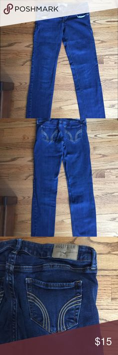 Hollister jeans Hollister dark wash super skinny jeans. In my opinion the thighs and ankles are wider than a normal skinny jean Hollister Jeans