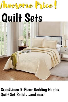 GrandLinen 3-Piece Bedding Naples Quilt Set Solid Light Ivory Queen/Full Size 90' x 90' Bedspread with 2 Pillow Shams - Diamond Box Pattern Soft Microfiber Coverlet ... (This is an affiliate link) #quiltsets