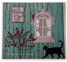 Window 2 | docrafts.com    Thinking of you card using memory box dies, spellbinders window die.