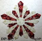 "Set of 6 Red Snowflake Dresden Plate Quilt Blocks 12"" - #917"