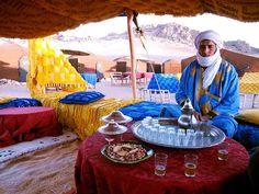 Tea in Zagora desert camp, Morocco