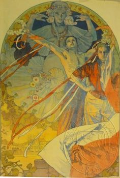 Find out more on Europeana Illustration Art Nouveau, Art Nouveau Poster, Belle Epoque, Art Deco Paintings, Painting Art, Alphonse Mucha Art, Post Impressionism, Soul Art, Les Oeuvres