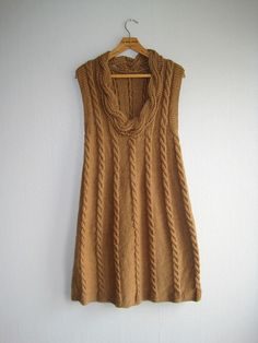 Dress knit handmade rustic knit cableknit camel by woolpleasure