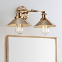 Shop for August Metal Vanity Light, Brass Gold by JONATHAN Y. Get free delivery at Overstock - Your Online Home Decor Destination! Get in rewards with Club O! Industrial Bathroom Lighting, Bathroom Light Fixtures, Bathroom Vanity Lighting, Kitchen Lighting, Home Lighting, Lighting Ideas, Industrial Vanity Light, Farmhouse Lighting, Lighting Store