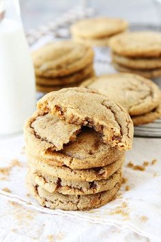 Brown Sugar Toffee Cookies Recipe on twopeasandtheirpod.com You will want a big stack of these cookies!