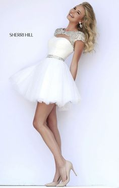 #2015 Sherri Hill 11191 Beaded Ivory/Silver Cutout Scoop-neck Homecoming Dress [Sherri Hill 11191 Ivory/Silver] - $178.00 : Cheap Homecoming Dresses 2015,Prom Dresses & Cocktail Dresses Online Sale!