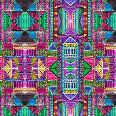Tribal Patchwork Pink Stretched Canvas
