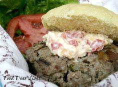 bacon jalapeno burger with pimento cheese Food Done Light #hamburger recipe #dietrecipes #healthyrecipes