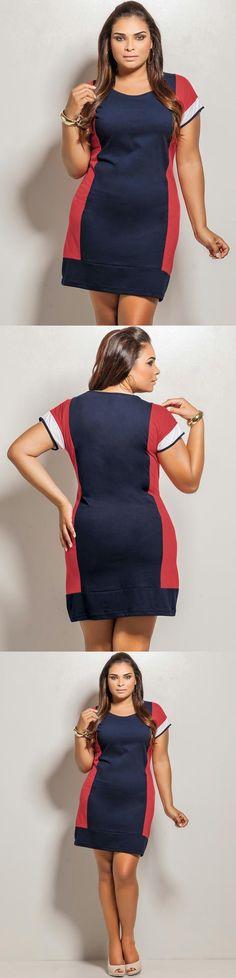 Vestido Curto Plus Size Azul, Vermelho e Branco.