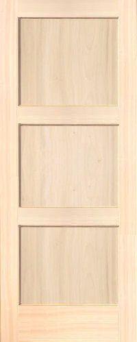 Contemporary 3-Panel Poplar Wood Interior Door