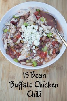 15 Bean Buffalo Chicken Chili ~ Perfect Game Day Meal! from 5DollarDinners.com