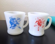 Vintage Bat Man & Robin Mugs  RARE  Anchor by MissAtomicShop