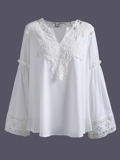 Crochet Blouse Plus Size V Neck Crochet Lace Spliced Blouse - Fashion Pioneer with more than 200000 different style of clothes lower than average market price, offering Great customer service and shopping experience. Plus Size Blouses, Plus Size Tops, Blouse Styles, Blouse Designs, Vetements Clothing, Crochet Blouse, Crochet Lace, Fashion Seasons, Fashion Prints